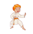 Little boy wearing kimono practicing karate vector image
