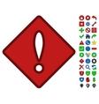 Problem Rhombus Symbol With Toolbar Icon Set vector image