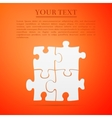 Puzzles flat icon on orange background Adobe vector image