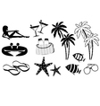 Set of icons of summer holiday on the coast vector image