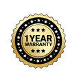 1 year warranty sign isolated golden mark icon vector image vector image