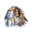 arabian man with a falcon and a horse from vector image vector image