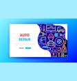 auto repair neon landing page vector image