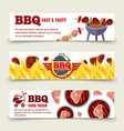 bbq and steak horizontal banners template vector image vector image
