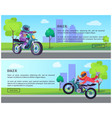 biker on street motorbike riding on road cityscape vector image