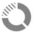 black pixel pie chart icon vector image vector image