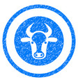 bull head rounded grainy icon vector image vector image