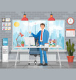 businessman in office building interior vector image vector image
