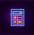 calculator neon label vector image vector image