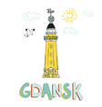 card with lighthouse in gdansk poland vector image vector image