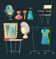 cartoon dressing room collection for vector image