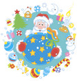 christmas and new year card with santa claus vector image vector image