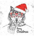 christmas hipster fashion animal wolf vector image vector image
