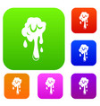 dripping slime set color collection vector image vector image