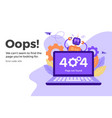 error 404 unavailable web page not found vector image vector image
