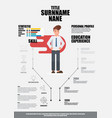 flat resume with infographics resume vector image