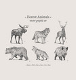 forest animals vintage set vector image vector image