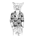 fox dressed up in aloha shirt vector image vector image