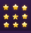 game ranking gold stars cartoon ui gui interface vector image