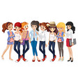 Girls in blue jeans vector image vector image
