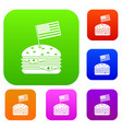 hamburger set color collection vector image vector image