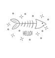 hand drawn fish skeleton sketch style vector image