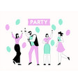 happy men and women at party group people with vector image
