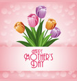 happy mothers day card with flowers and bubbles vector image vector image