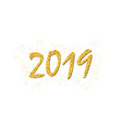 happy new year gold number 2019 bright golden vector image vector image