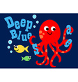 Happy octopus swimming with two fish vector image vector image