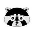 head of racoon in cartoon style kawaii animal vector image vector image