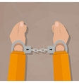 human hands in handcuffs vector image