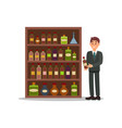 man in formal suit standing near shelf with vector image