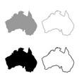 map of australia icon set grey black color vector image vector image