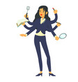 multitask businesswoman on a white background vector image