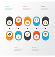 music flat icons set collection of button vector image vector image