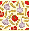 pasta and vegetables seamless pattern vector image vector image