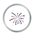Patriotic fireworks icon in cartoon style isolated vector image
