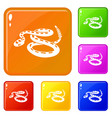 rattlesnake icons set color vector image vector image