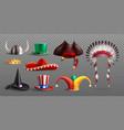 realistic masquerade hats transparent set vector image vector image