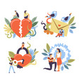 relationship stages from courtship to break up and vector image