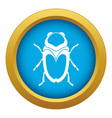 scarab beetle icon blue isolated vector image