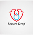 secure drop logo with simple touch icon element vector image vector image