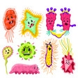 set bacteria characters cartoon cute germ vector image