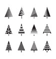 set of black christmas trees and vector image