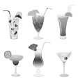 Set of grayscale cocktails vector image vector image