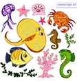 set of sea creatures vector image