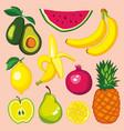 set with fruits avocado watermelon banana lemon vector image