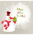 snowman with christmas tree - greeting card 10eps vector image vector image