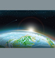 spacescape with earth and bright sun on horizon vector image